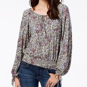 NWT Lucky brand Smocked Tie-neck Peasant Top